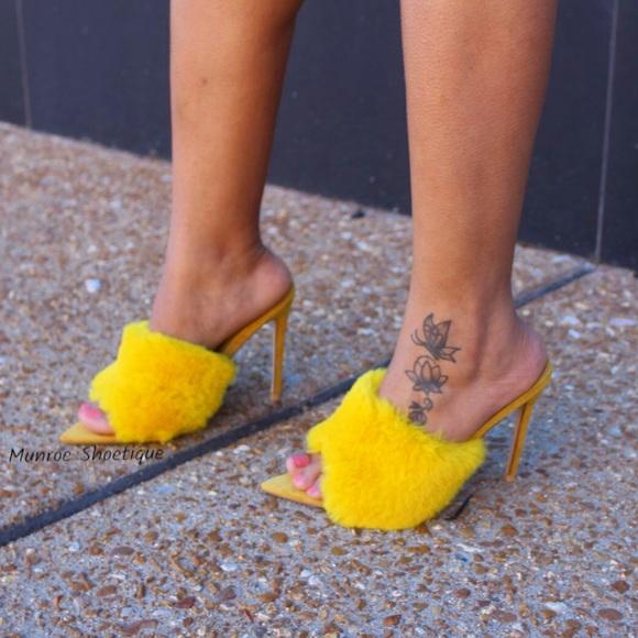 daf53eda016 Yellow Faux Fur Mule Heels Boutique